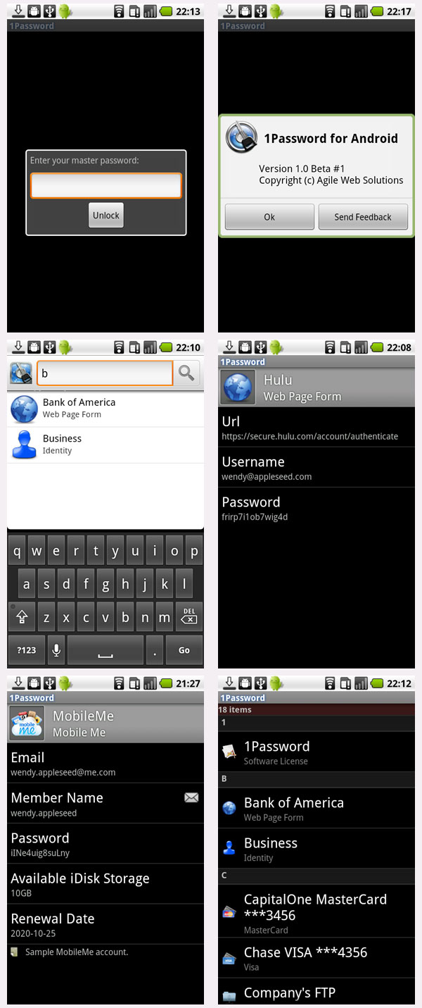 1Password for Android Screenshots